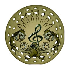 Decorative Clef With Damask In Soft Green Ornament (Round Filigree)  by FantasyWorld7