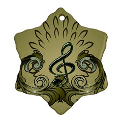 Decorative Clef With Damask In Soft Green Snowflake Ornament (2 Side) by FantasyWorld7
