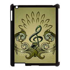 Decorative Clef With Damask In Soft Green Apple Ipad 3/4 Case (black) by FantasyWorld7