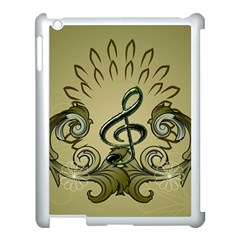 Decorative Clef With Damask In Soft Green Apple Ipad 3/4 Case (white) by FantasyWorld7