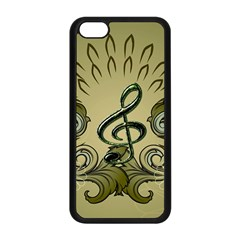 Decorative Clef With Damask In Soft Green Apple Iphone 5c Seamless Case (black) by FantasyWorld7
