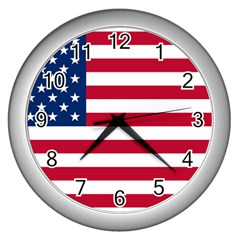 Usa1 Wall Clocks (Silver)  by ILoveAmerica