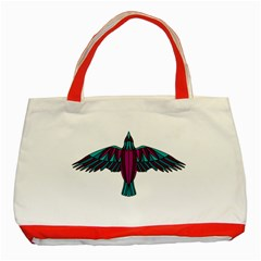 Stained Glass Bird Illustration  Classic Tote Bag (red)  by carocollins