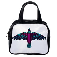 Stained Glass Bird Illustration  Classic Handbags (one Side) by carocollins