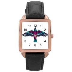 Stained Glass Bird Illustration  Rose Gold Watches by carocollins