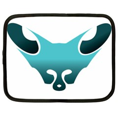 Fox Logo Blue Gradient Netbook Case (large)	 by carocollins