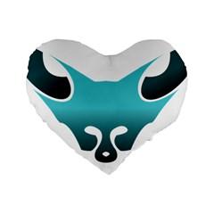 Fox Logo Blue Gradient Standard 16  Premium Heart Shape Cushions by carocollins