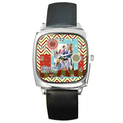 Xmas By Joy   Square Metal Watch   Cj88os175fzx   Www Artscow Com Front