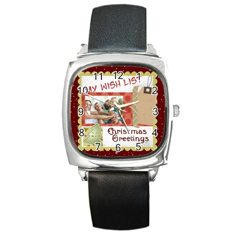 Xmas By Joy   Square Metal Watch   Jb6dvrr38by8   Www Artscow Com Front