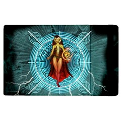 Beautiful Witch With Magical Background Apple Ipad 2 Flip Case by FantasyWorld7