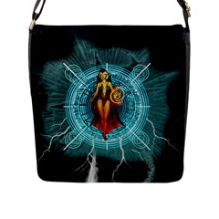 Beautiful Witch With Magical Background Flap Messenger Bag (l)  by FantasyWorld7