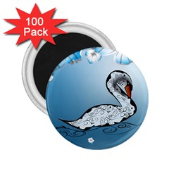 Wonderful Swan Made Of Floral Elements 2 25  Magnets (100 Pack)  by FantasyWorld7