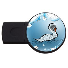 Wonderful Swan Made Of Floral Elements Usb Flash Drive Round (2 Gb)  by FantasyWorld7