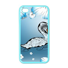 Wonderful Swan Made Of Floral Elements Apple Iphone 4 Case (color) by FantasyWorld7