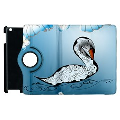 Wonderful Swan Made Of Floral Elements Apple Ipad 3/4 Flip 360 Case by FantasyWorld7