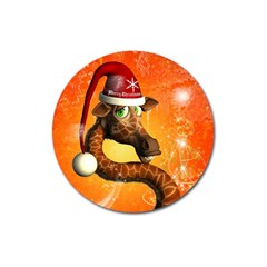 Funny Cute Christmas Giraffe With Christmas Hat Magnet 3  (round) by FantasyWorld7
