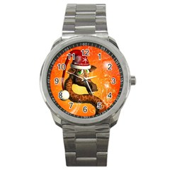 Funny Cute Christmas Giraffe With Christmas Hat Sport Metal Watches by FantasyWorld7