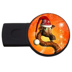 Funny Cute Christmas Giraffe With Christmas Hat Usb Flash Drive Round (4 Gb)  by FantasyWorld7