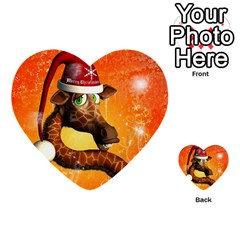 Funny Cute Christmas Giraffe With Christmas Hat Multi Purpose Cards (heart)