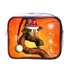 Funny Cute Christmas Giraffe With Christmas Hat Mini Toiletries Bags by FantasyWorld7