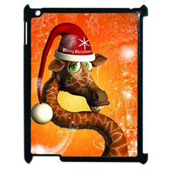 Funny Cute Christmas Giraffe With Christmas Hat Apple Ipad 2 Case (black) by FantasyWorld7