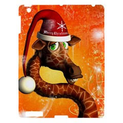 Funny Cute Christmas Giraffe With Christmas Hat Apple Ipad 3/4 Hardshell Case by FantasyWorld7