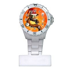 Funny Cute Christmas Giraffe With Christmas Hat Nurses Watches by FantasyWorld7