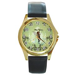 Cute Elf Playing For Christmas Round Gold Metal Watches by FantasyWorld7