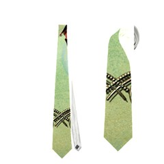 Cute Elf Playing For Christmas Neckties (two Side)  by FantasyWorld7