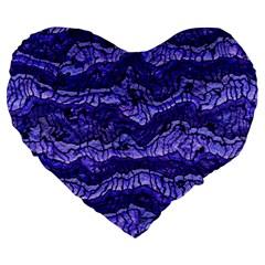 Alien Skin Blue Large 19  Premium Heart Shape Cushions by ImpressiveMoments