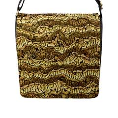 Alien Skin Hot Golden Flap Messenger Bag (l)  by ImpressiveMoments