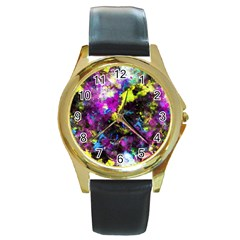 Colour Splash G264 Round Gold Metal Watches by MedusArt