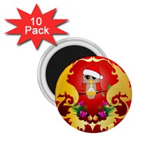 Funny, Cute Christmas Owl  With Christmas Hat 1 75  Magnets (10 Pack)  by FantasyWorld7
