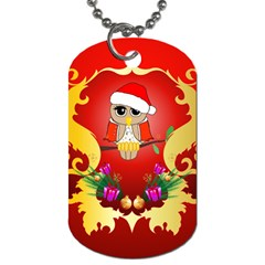 Funny, Cute Christmas Owl  With Christmas Hat Dog Tag (two Sides) by FantasyWorld7
