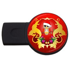 Funny, Cute Christmas Owl  With Christmas Hat Usb Flash Drive Round (2 Gb)  by FantasyWorld7