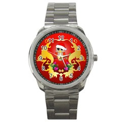 Funny, Cute Christmas Owl  With Christmas Hat Sport Metal Watches by FantasyWorld7