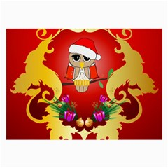 Funny, Cute Christmas Owl  With Christmas Hat Large Glasses Cloth (2 Side) by FantasyWorld7
