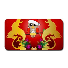 Funny, Cute Christmas Owl  With Christmas Hat Medium Bar Mats