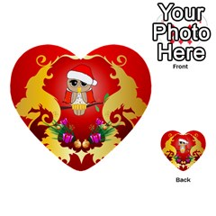 Funny, Cute Christmas Owl  With Christmas Hat Multi Purpose Cards (heart)  by FantasyWorld7