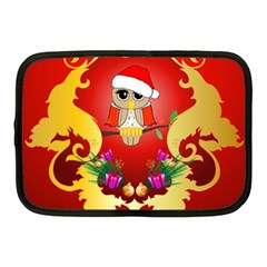 Funny, Cute Christmas Owl  With Christmas Hat Netbook Case (medium)  by FantasyWorld7