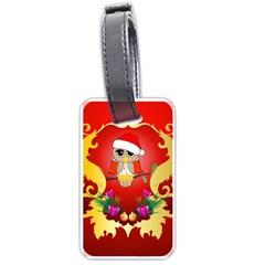 Funny, Cute Christmas Owl  With Christmas Hat Luggage Tags (two Sides) by FantasyWorld7
