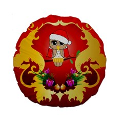 Funny, Cute Christmas Owl  With Christmas Hat Standard 15  Premium Round Cushions by FantasyWorld7