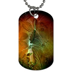 Beautiful Abstract Floral Design Dog Tag (one Side) by FantasyWorld7