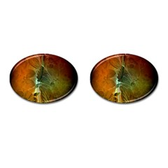 Beautiful Abstract Floral Design Cufflinks (oval) by FantasyWorld7