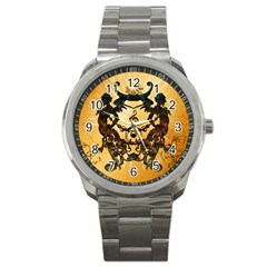 Clef With Awesome Figurative And Floral Elements Sport Metal Watches by FantasyWorld7