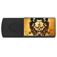 Clef With Awesome Figurative And Floral Elements Usb Flash Drive Rectangular (4 Gb)  by FantasyWorld7