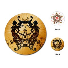 Clef With Awesome Figurative And Floral Elements Playing Cards (round)  by FantasyWorld7