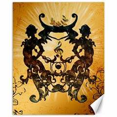 Clef With Awesome Figurative And Floral Elements Canvas 11  X 14   by FantasyWorld7