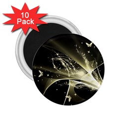 Awesome Glowing Lines With Beautiful Butterflies On Black Background 2 25  Magnets (10 Pack)  by FantasyWorld7