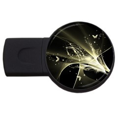 Awesome Glowing Lines With Beautiful Butterflies On Black Background Usb Flash Drive Round (2 Gb)  by FantasyWorld7